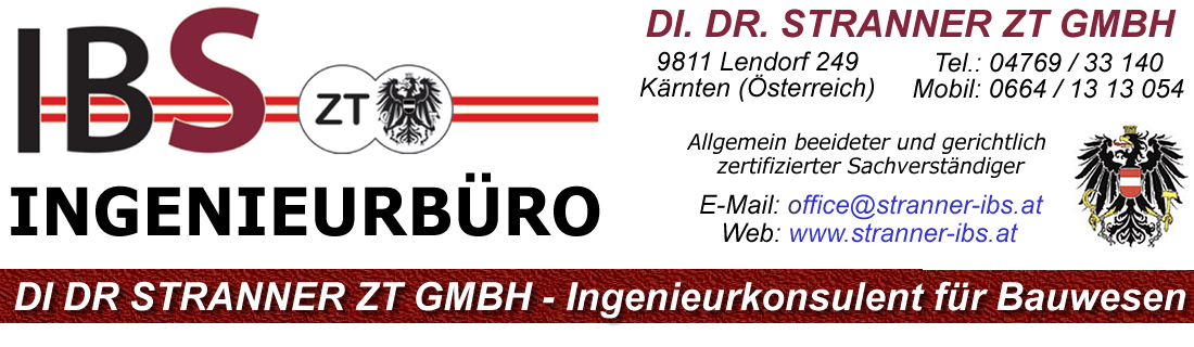 Ingenieurbüro DI Dr. Stranner, Ingenieurkonsulent für Bauwesen, Kärnten