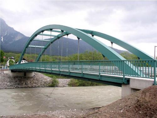Stahlbogenbrücke Gunderheim über die Gail (L= 50 m)