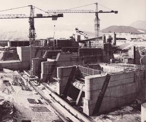 Bau des Draukraftwerkes Villach (Aufnahme Sommer 1980)