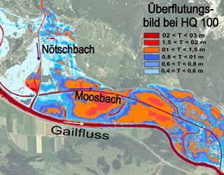 Gefahrenzonenplan Nötschbach - Bezirk Villach / Kärnten / Austria
