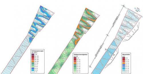 Strömungsbild mit Schleppspannung, Wassertiefen und Geschwindigkeitsverteilung in derPendelrampe bei Niedrig- / Mittelwasser