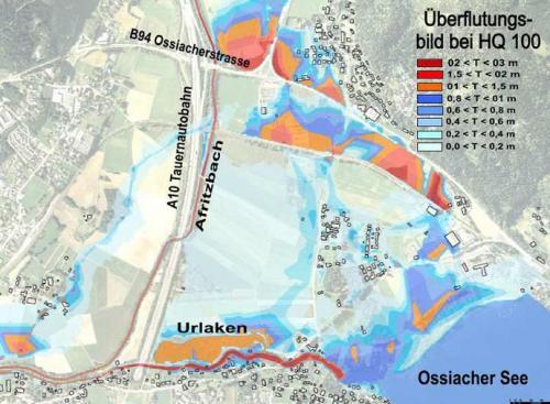 Ergebnisse der Berechnungen für den Istzustand im Gemeindegebiet Treffen und Villach.